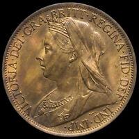 1901 Queen Victoria Veiled Head Penny, UNC #4