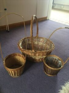 Three Vintage Wicker Flower  Baskets