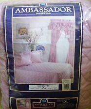 "NEW ""Ambassador"" QUEEN Bedspread PINK Quilted Permanent Press No Iron w Zip Case"