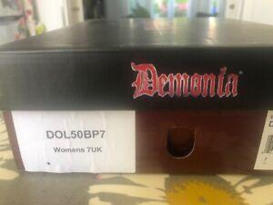 Demonia DOLLY Mary Jane Black Patent shoes UK size 7 heel 5 inch never worn
