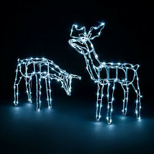 Light Up Reindeer Outdoor Christmas Decoration White Wire LED Standing Grazing