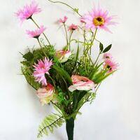 Wiesenblumen Strauß 45 cm - weiß rosa Kunstblume künstliche Margeriten Ranunkel