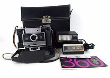 VINTAGE POLAROID 360 ELECTRONIC FLASH LAND CAMERA W/ CHARGER, 365 FLASH AND CASE