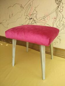 Retro-style footstool -  Handcrafted in a traditional method.