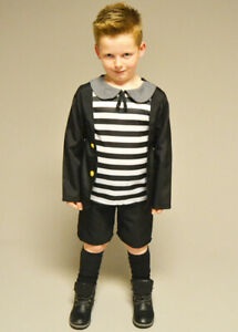 Childrens The Addams Family Pugsley Style Kids Fancy Dress Gothic Horror Costume