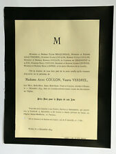 COULON Verdrel FAIRE PART Braquehais Chassepot Lefevre Lepere ROUEN 1894