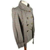 NEW Topshop Size 10 Grey Brown Check Belted Lined Jacket Lightweight Puff Sleeve