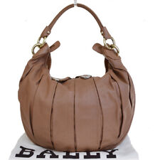 Authentic BALLY Logo Shoulder Bag Genuine Leather Brown Made In Italy 01ES089
