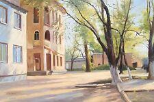 "Sunny yard original oil painting by Nikolai Usik 24x36"" 62x92 cm w/o frame"