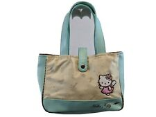 2007 HELLO KITTY SANRIO SATCHEL Purse Shoulder Bag GREEN FAUX LEATHER Nylon