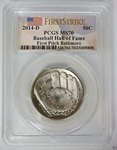 2014-D Baseball Hall of Fame 50c First Strike First Pitch Baltimore PCGS MS70