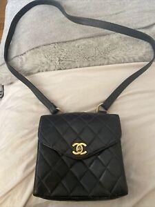 Vintage Chanel Black Lambskin Messenger Bag