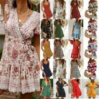 Womens Summer Boho Floral Tea Dress Ladies Party Beach Mini Wrap Sundress V New
