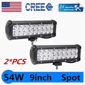 2x 9Inch 54W LED Work Light Bar Spot Beam Driving Offroad Truck SUV Ford PK 8/10