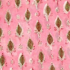 10 Yards Dressmaking Sewing Natural Cotton Fabric Handmade Voile Block Print BJ9
