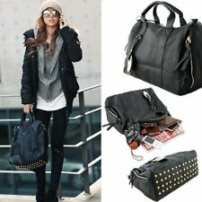 Fashion Women Faux Leather Rivets Bag Shoulder Handbag Tote Hobo Crossbody Bags