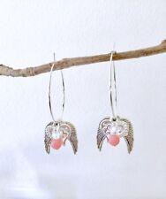 Angel Wing Heart Pink Coral Crystal Large Silver Hoop Interchangeable Earrings