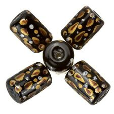 Mano pintada de negro Tubular Perlas De Vidrio Con Detalle Rojo 9x14mm Pack De 5 a66//1