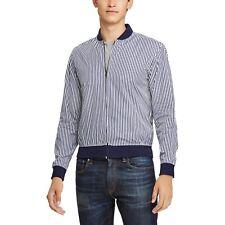 595$Ralph Lauren Purple Label Bengal-Striped Cotton Twill Bomber Jacket Med Navy