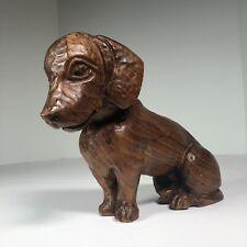 "Hand Carved Wooden Dachshund Figurine 6.5"" Tall 8.5"" Long Dachshund Themed Art"