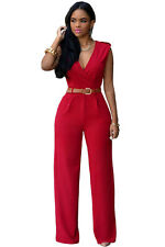 Red Plus Size V Neck Belt Embellished Jumpsuit Club Party Wear Size UK 12-14