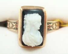 Victorian 10k Rose Gold Ring with Genuine Natural Stone Cameo (#2583)