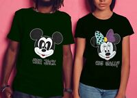 Mickey- Minnie His Sally and Her Jack Matching Halloween T-Shirts for Couples.