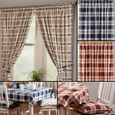 Chelsea Checked Tartan 100% Cotton Kitchen Curtains With Optional Accessories