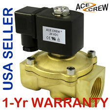 VITON 1 inch 24V DC VDC Brass Solenoid Valve NPT Gas Water Air Normally Closed