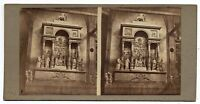 Venezia Interno Chiesa dei Frari Rara foto stereo originale albumina 1860c S1080