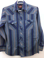 Wrangler Pearl Snap Shirt Mens Medium 15-15.5 Blue Stripes Western