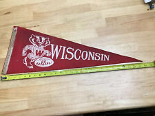 Vintage Large 50's- 60's Wisconsin Go Badgers Red Felt Pennant Bucky