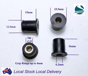 Qty 10 M6 16mm Rubber Brass Insert Wellnut Well Nut Windscreen Fairing
