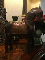Antique Warrior Battle Asian Mogul Style Horse Made Of Wood Copper And Brass