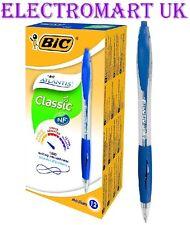 12 X BIC ATLANTIS CLASSIC MEDIUM BIRO BALL POINT PEN COLOUR BLUE