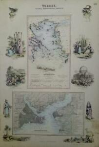 Antique Vintage c1860's MAP of TURKEY, Central Mediterranean - Fullarton & Co