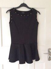 BNWOT Ladies Size 10 Black Studded Peplum Top by Cupcake