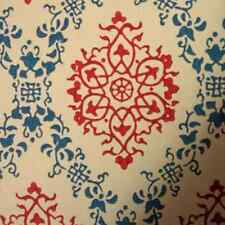 1950er Original Blau Rot Damast Tapete - Retro Vintage