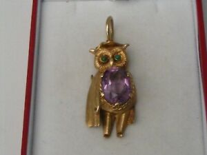 RARE VINTAGE 9ct.GOLD LARGE TEACHING OWL AMETHYST AND TURQUOISE PENDANT.8.2grms