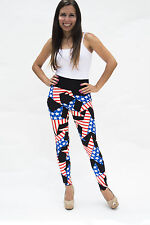 USA American flag, Stars and Stripes women high-waisted cotton stretch leggings