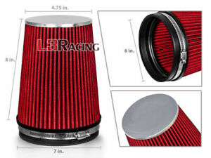 "RED 6 Inches 6"" 152mm Inlet Cold Air Intake Cone Long TRUCK FILTER For Cadillac"