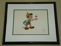Disney Sericel Pinocchio Here's Your Apple Lt Ed 5000 Disney Black Frame & COA