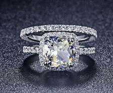 LUXURY NSCD DIAMOND WEDDING BRIDAL ENGAGEMEN 3 CARAT RING SET WHITE GOLD FINISH
