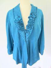 Sharon Young Romantic Atttached Flowers Soft Blazer Jacket Aqua Turquoise Size 8