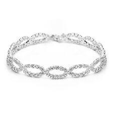 Silver Elegant Brilliant Bangle Bracelet with Swarovski Cystals