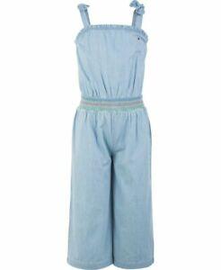 NWT TOMMY HILFIGER GirlsBlue Cotton Smocked Denim Jumpsuit(MSRP$54.50)) NEW