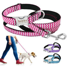 Adjustable Personalized Nylon Dog Collar & Leash Puppy Name ID Engraved Collar