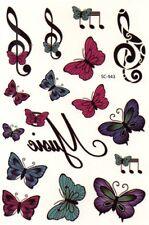 Schmetterling Noten Musik Temporary Temporäre Klebe Einmal Tattoo 10x15cm SC943