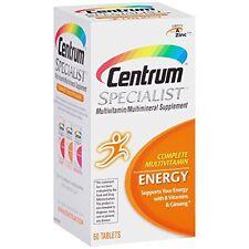 5 Pack Centrum Specialist Multivitamin/Multimineral Supplement Energy 60 Tabs Ea