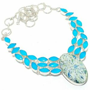 """Carved K2 Azurite, Blue Onyx Silver Jewelry Necklace 18"""" MQR-3208"""